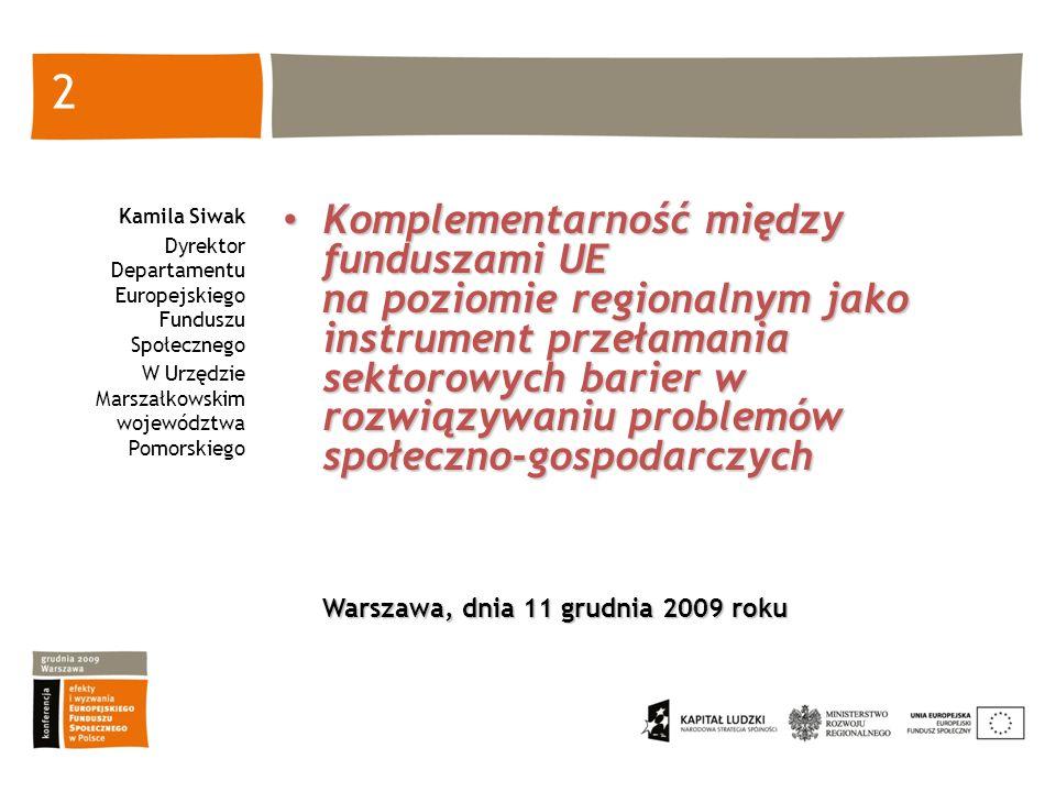 2 Kamila Siwak Dyrektor Departamentu Europejskiego Funduszu Społecznego W Urzędzie Marszałkowskim województwa Pomorskiego Komplementarność między fund