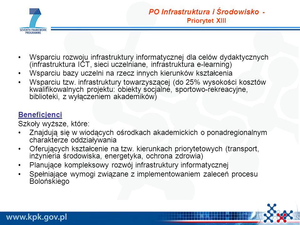 PO Infrastruktura i Środowisko - Priorytet XIII Wsparciu rozwoju infrastruktury informatycznej dla celów dydaktycznych (infrastruktura ICT, sieci uczelniane, infrastruktura e-learning) Wsparciu bazy uczelni na rzecz innych kierunków kształcenia Wsparciu tzw.
