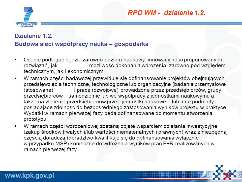 RPO WM - działanie 1.2. Działanie 1.2.