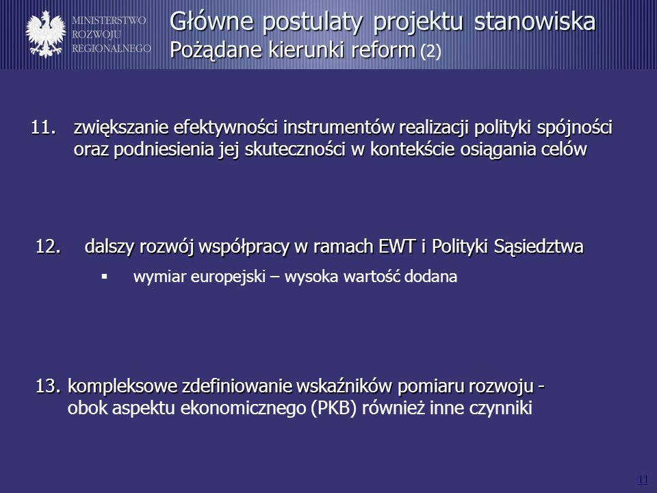 11 11.zwiększanie efektywności instrumentów realizacji polityki spójności oraz podniesienia jej skuteczności w kontekście osiągania celów Główne postu