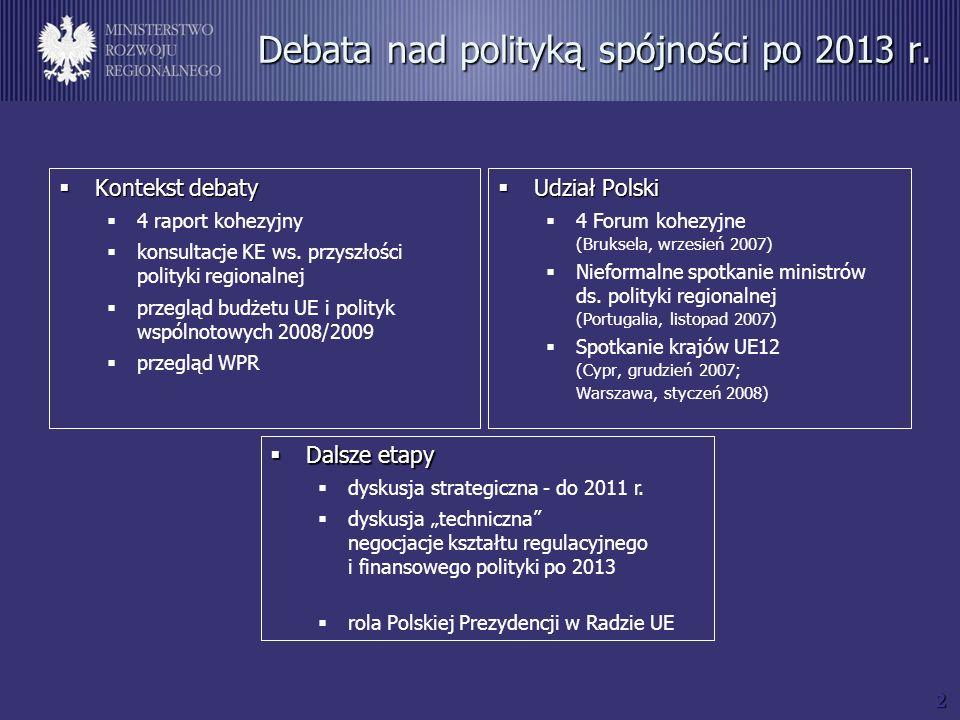 2 Debata nad polityką spójności po 2013 r. Kontekst debaty Kontekst debaty 4 raport kohezyjny konsultacje KE ws. przyszłości polityki regionalnej prze