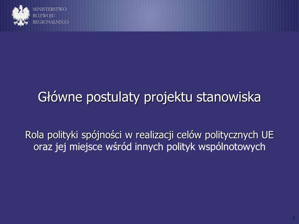 5 Główne postulaty projektu stanowiska Główne postulaty projektu stanowiska Rola polityki spójności w realizacji celów politycznych UE (1) 1.