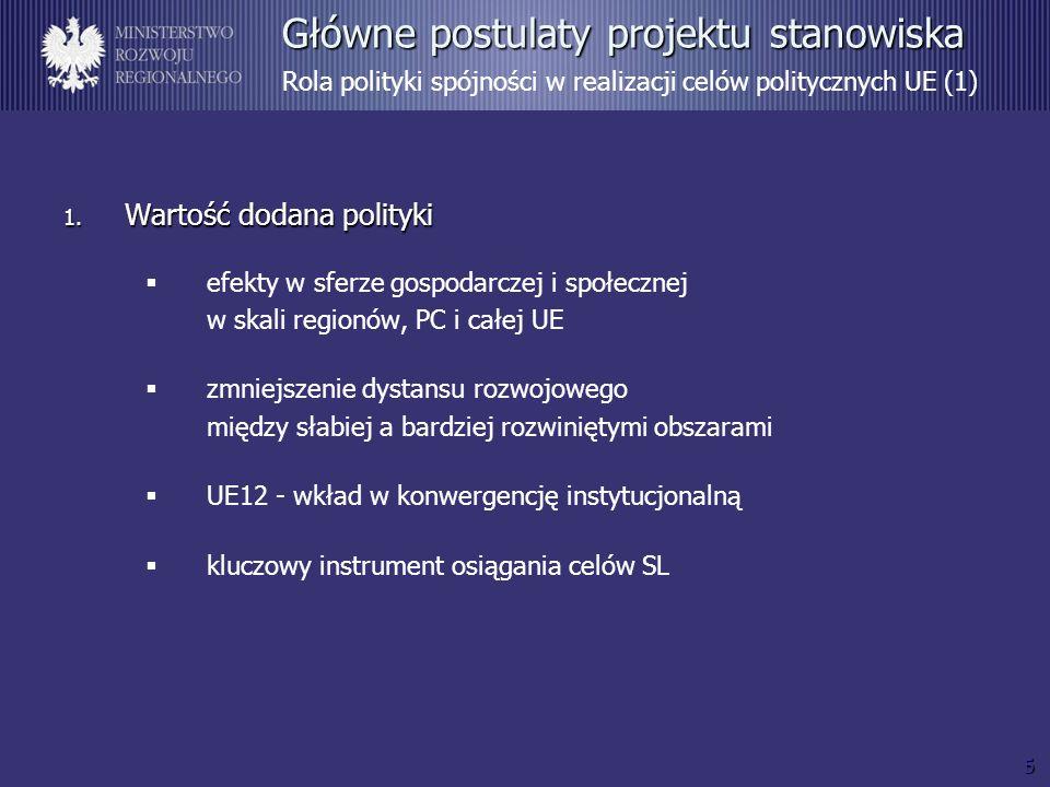 5 Główne postulaty projektu stanowiska Główne postulaty projektu stanowiska Rola polityki spójności w realizacji celów politycznych UE (1) 1. Wartość