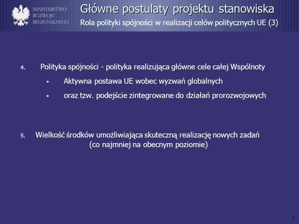 8 Główne postulaty projektu stanowiska Pożądane kierunki reform