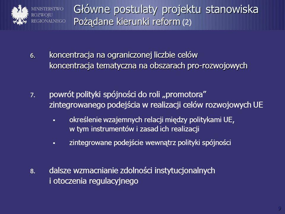 9 6. koncentracja na ograniczonej liczbie celów koncentracja tematyczna na obszarach pro-rozwojowych 7. powrót polityki spójności do roli promotora zi