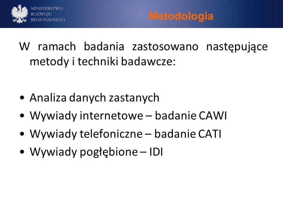 Metodologia W ramach badania zastosowano następujące metody i techniki badawcze: Analiza danych zastanych Wywiady internetowe – badanie CAWI Wywiady telefoniczne – badanie CATI Wywiady pogłębione – IDI