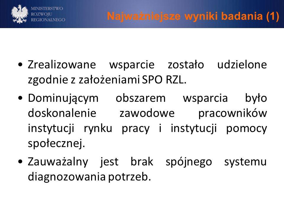 Najważniejsze wyniki badania (1) Zrealizowane wsparcie zostało udzielone zgodnie z założeniami SPO RZL.
