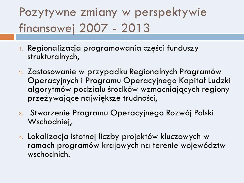 Pozytywne zmiany w perspektywie finansowej 2007 - 2013 1. Regionalizacja programowania części funduszy strukturalnych, 2. Zastosowanie w przypadku Reg