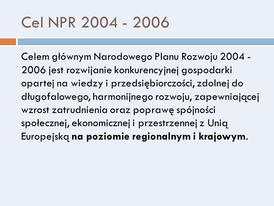 Cel NPR 2004 - 2006 Celem głównym Narodowego Planu Rozwoju 2004 - 2006 jest rozwijanie konkurencyjnej gospodarki opartej na wiedzy i przedsiębiorczośc