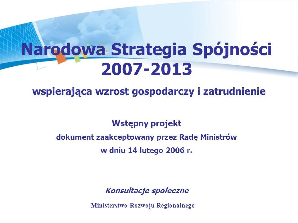 dokument strategiczny przygotowywany przez kraje członkowskie UE w oparciu o Strategiczne Wytyczne Wspólnoty i określający krajowe priorytety oraz obszary, na które będą przeznaczane środki unijne i krajowe w latach 2007-2013 Narodowa Strategia Spójności 2007-2013 Wstępny projekt NSRO/NSS 2007-2013 wspierających wzrost gospodarczy i zatrudnienie przyjęty przez Radę Ministrów 14 lutego br.
