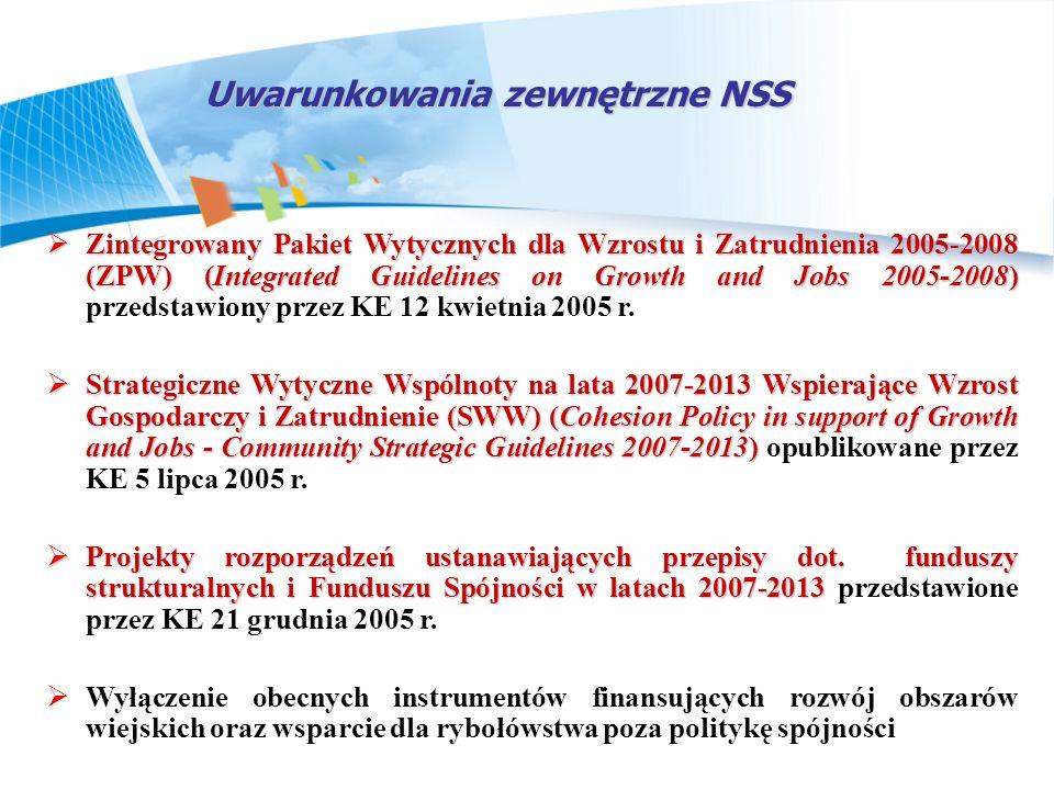 Układ celów NSS i programów operacyjnych Wzrost zatrudnienia poprzez rozwój kapitału ludzkiego i społecznego Podniesienie konkurencyjności polskich przedsiębiorstw, w tym szczególnie sektora usług Tworzenie warunków dla utrzymania trwałego i wysokiego tempa wzrostu gospodarczego Budowa i modernizacja infrastruktury technicznej, mającej podstawowe znaczenie dla wzrostu konkurencyjności Polski i jej regionów Wzrost konkurencyjności polskich regionów i przeciwdziałanie ich marginalizacji społecznej, gospodarczej, i przestrzennej Rozwój obszarów wiejskich 16 Regionalnych Programów Operacyjnych PO Rozwój Polski Wschodniej PO Europejskiej Współpracy Terytorialnej PO Infrastruktura i środowisko PO Kapitał ludzki PO Konkurencyjna gospodarka PO Pomoc Techniczna