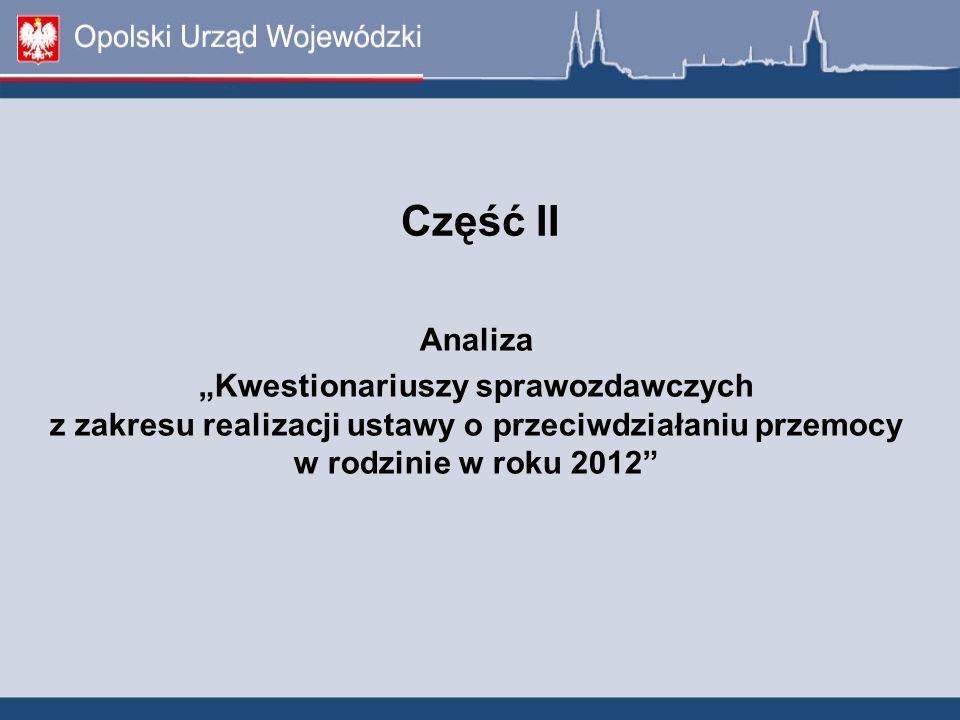 Część II Analiza Kwestionariuszy sprawozdawczych z zakresu realizacji ustawy o przeciwdziałaniu przemocy w rodzinie w roku 2012