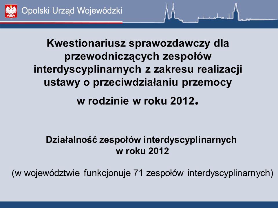 Kwestionariusz sprawozdawczy dla przewodniczących zespołów interdyscyplinarnych z zakresu realizacji ustawy o przeciwdziałaniu przemocy w rodzinie w r