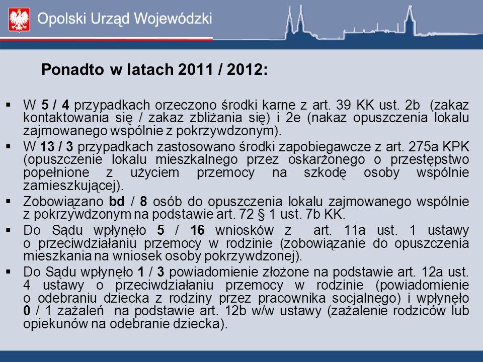 Ponadto w latach 2011 / 2012: W 5 / 4 przypadkach orzeczono środki karne z art. 39 KK ust. 2b (zakaz kontaktowania się / zakaz zbliżania się) i 2e (na