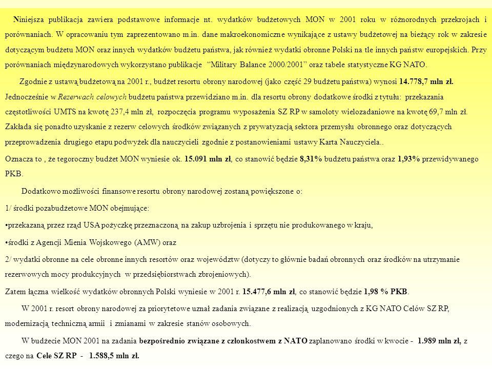 Niniejsza publikacja zawiera podstawowe informacje nt. wydatków budżetowych MON w 2001 roku w różnorodnych przekrojach i porównaniach. W opracowaniu t