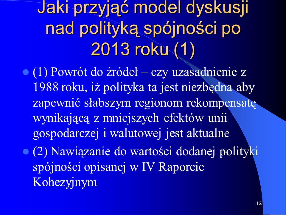 12 Jaki przyjąć model dyskusji nad polityką spójności po 2013 roku (1) (1) Powrót do źródeł – czy uzasadnienie z 1988 roku, iż polityka ta jest niezbę