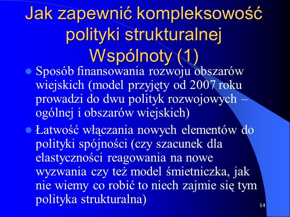 14 Jak zapewnić kompleksowość polityki strukturalnej Wspólnoty (1) Sposób finansowania rozwoju obszarów wiejskich (model przyjęty od 2007 roku prowadz