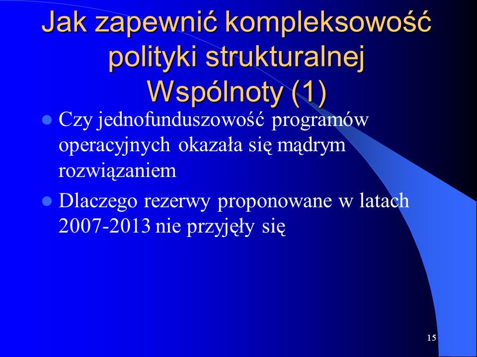 15 Jak zapewnić kompleksowość polityki strukturalnej Wspólnoty (1) Czy jednofunduszowość programów operacyjnych okazała się mądrym rozwiązaniem Dlacze