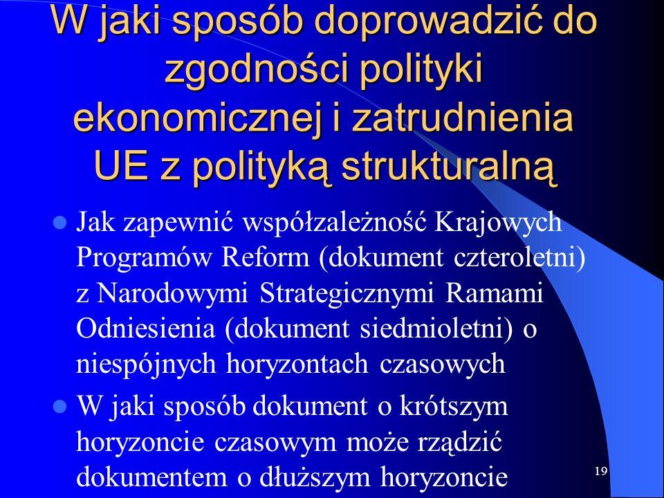 19 W jaki sposób doprowadzić do zgodności polityki ekonomicznej i zatrudnienia UE z polityką strukturalną Jak zapewnić współzależność Krajowych Progra