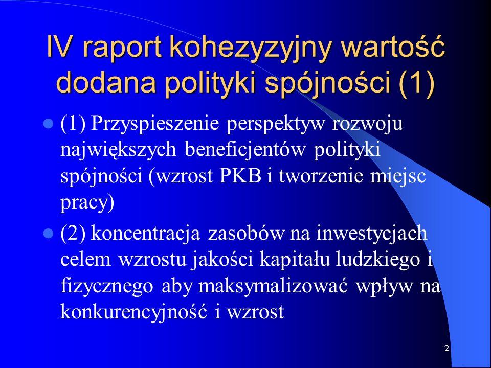 2 IV raport kohezyzyjny wartość dodana polityki spójności (1) (1) Przyspieszenie perspektyw rozwoju największych beneficjentów polityki spójności (wzr