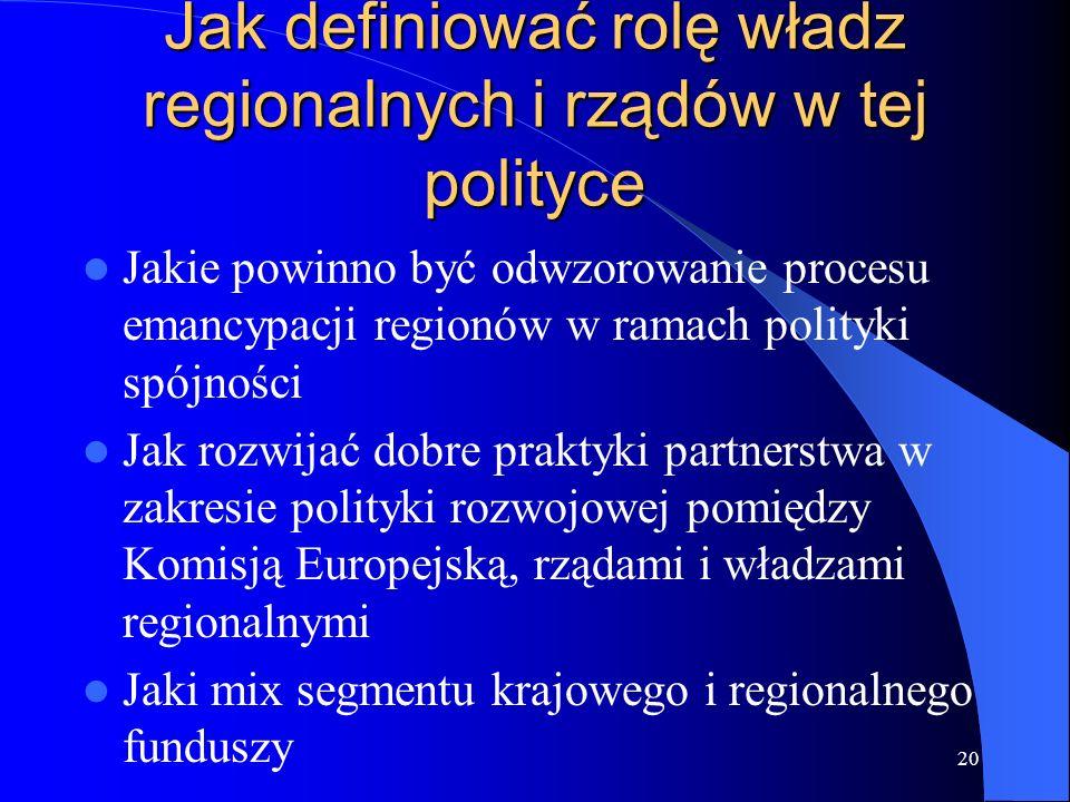 20 Jak definiować rolę władz regionalnych i rządów w tej polityce Jakie powinno być odwzorowanie procesu emancypacji regionów w ramach polityki spójno