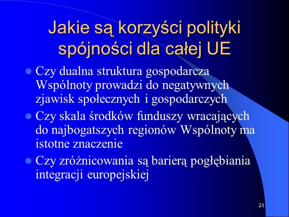 21 Jakie są korzyści polityki spójności dla całej UE Czy dualna struktura gospodarcza Wspólnoty prowadzi do negatywnych zjawisk społecznych i gospodar
