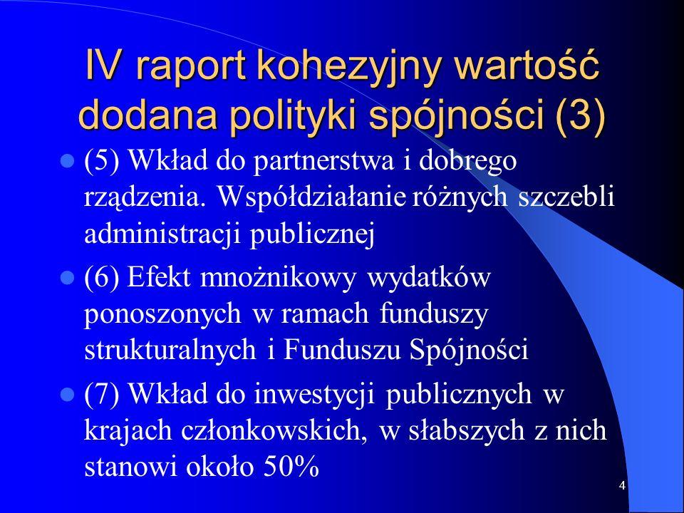 4 IV raport kohezyjny wartość dodana polityki spójności (3) (5) Wkład do partnerstwa i dobrego rządzenia. Współdziałanie różnych szczebli administracj
