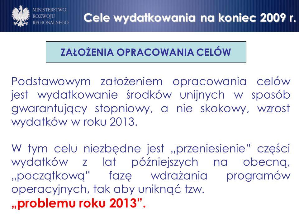 Cele wydatkowania na koniec 2009 r.