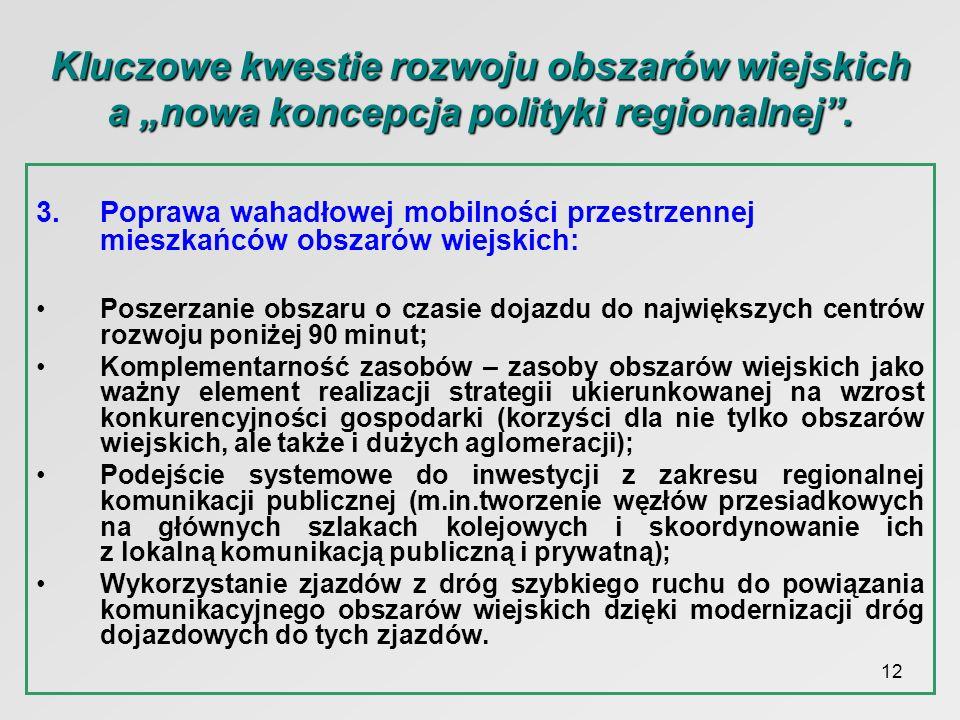 12 Kluczowe kwestie rozwoju obszarów wiejskich a nowa koncepcja polityki regionalnej. 3.Poprawa wahadłowej mobilności przestrzennej mieszkańców obszar