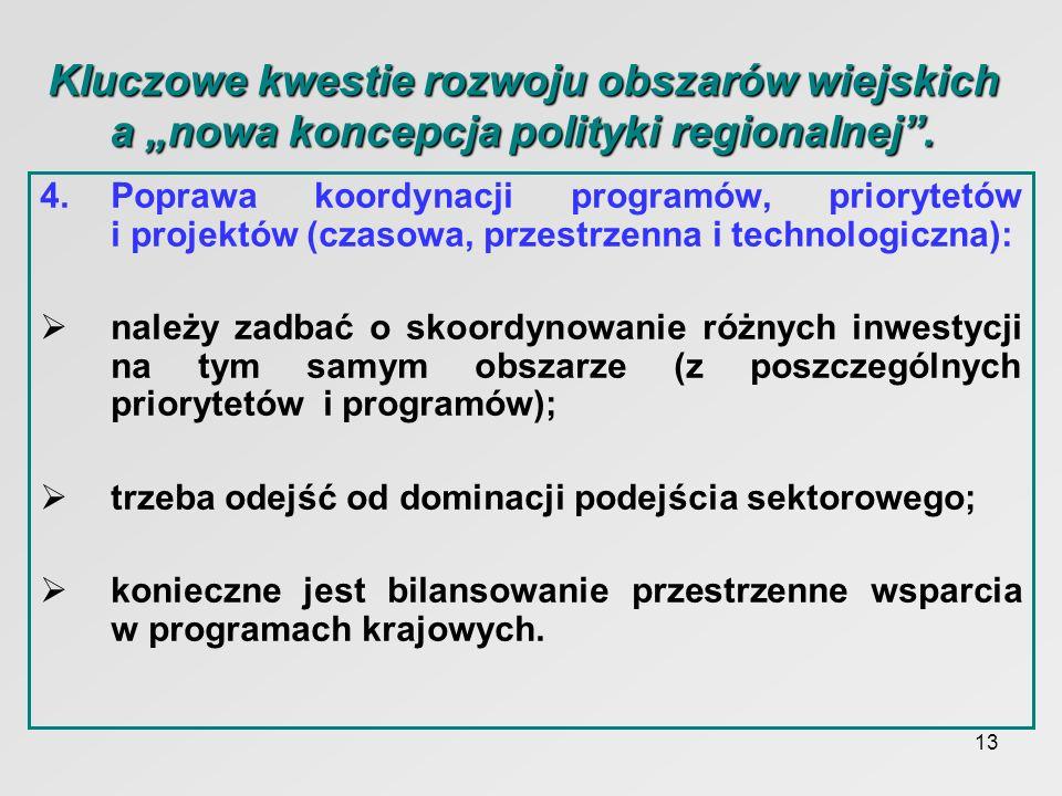 13 Kluczowe kwestie rozwoju obszarów wiejskich a nowa koncepcja polityki regionalnej. 4.Poprawa koordynacji programów, priorytetów i projektów (czasow