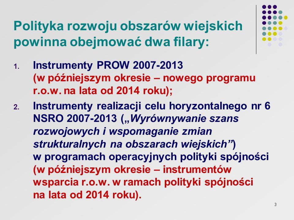 3 Polityka rozwoju obszarów wiejskich powinna obejmować dwa filary: 1. Instrumenty PROW 2007-2013 (w późniejszym okresie – nowego programu r.o.w. na l