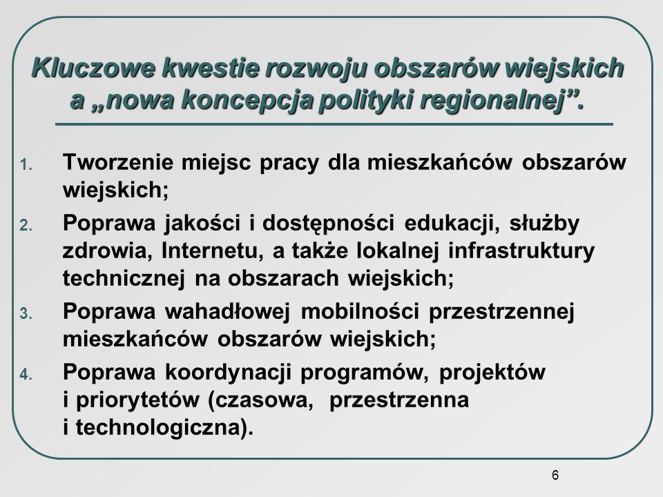 6 Kluczowe kwestie rozwoju obszarów wiejskich a nowa koncepcja polityki regionalnej. 1. Tworzenie miejsc pracy dla mieszkańców obszarów wiejskich; 2.