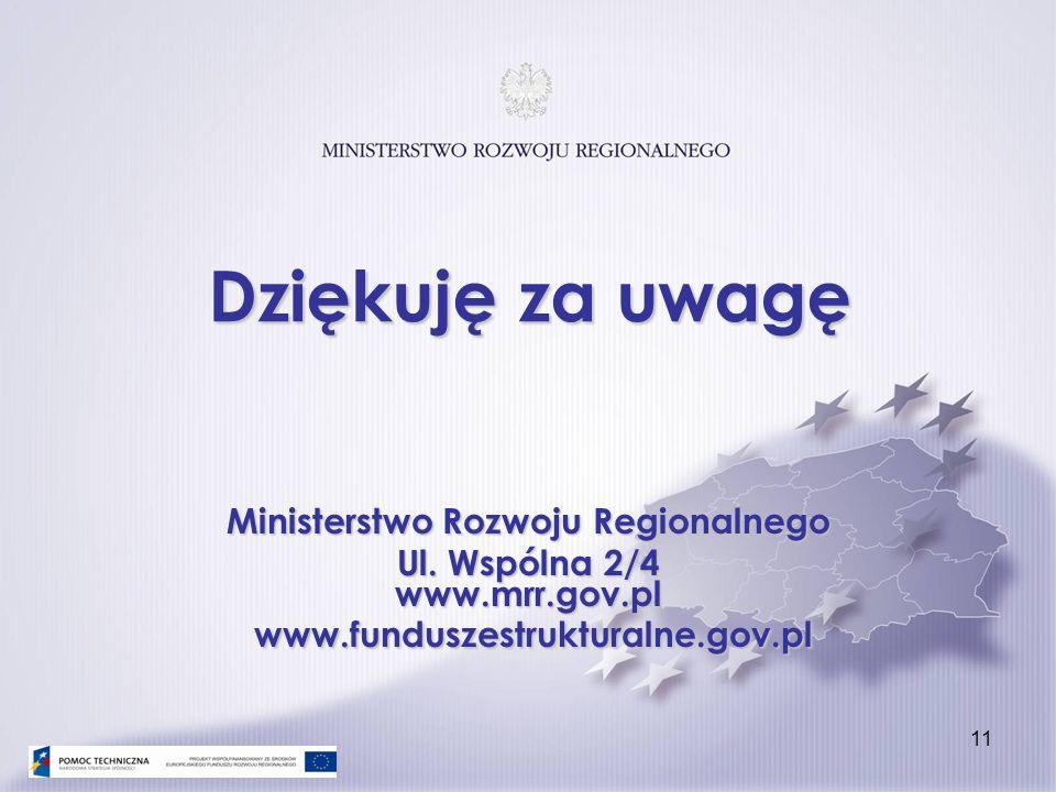 11 Ministerstwo Rozwoju Regionalnego Ul. Wspólna 2/4 www.mrr.gov.pl www.funduszestrukturalne.gov.pl Dziękuję za uwagę
