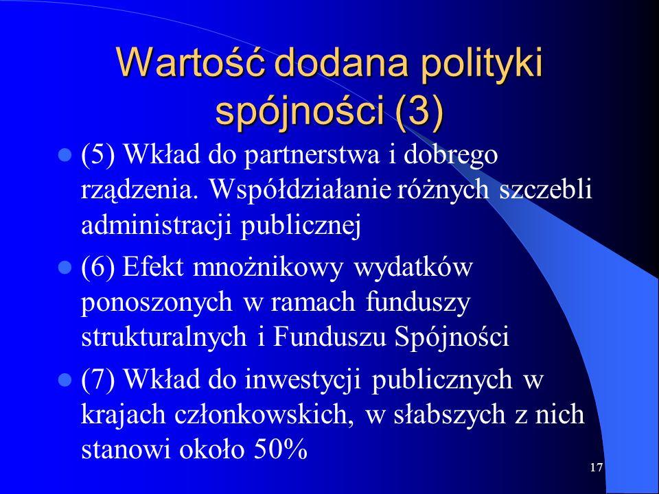 17 Wartość dodana polityki spójności (3) (5) Wkład do partnerstwa i dobrego rządzenia. Współdziałanie różnych szczebli administracji publicznej (6) Ef