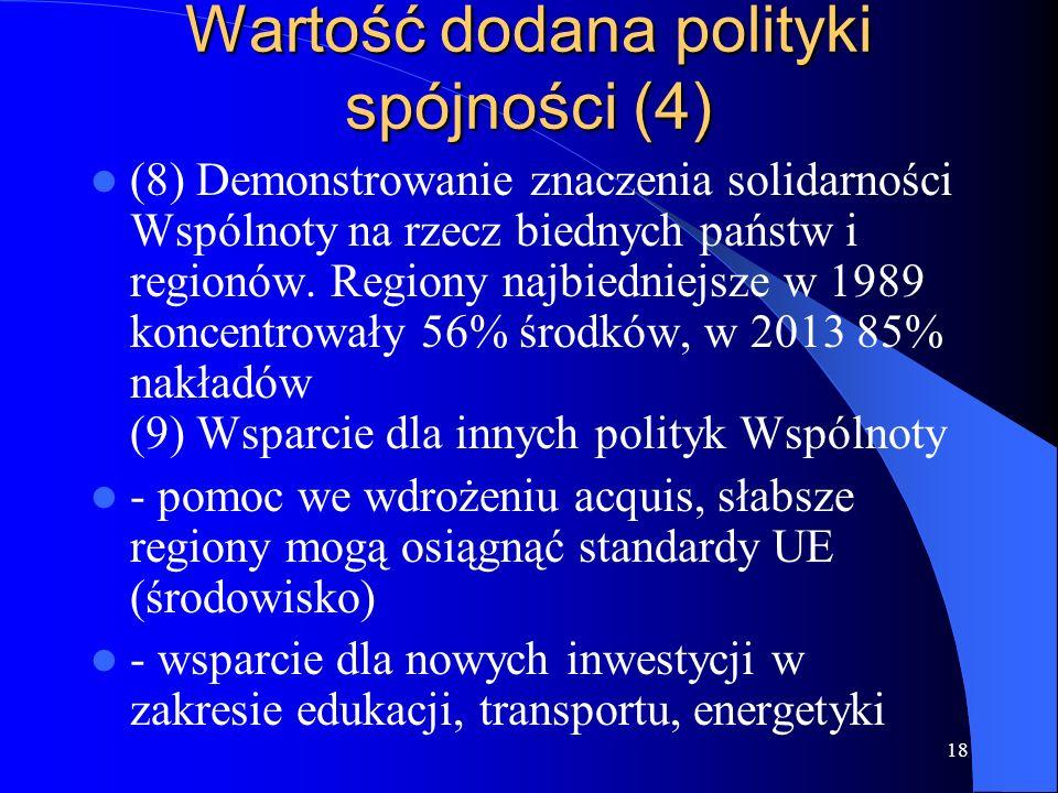 18 Wartość dodana polityki spójności (4) (8) Demonstrowanie znaczenia solidarności Wspólnoty na rzecz biednych państw i regionów.