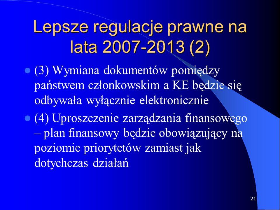 21 Lepsze regulacje prawne na lata 2007-2013 (2) (3) Wymiana dokumentów pomiędzy państwem członkowskim a KE będzie się odbywała wyłącznie elektronicznie (4) Uproszczenie zarządzania finansowego – plan finansowy będzie obowiązujący na poziomie priorytetów zamiast jak dotychczas działań