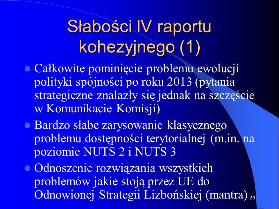 25 Słabości IV raportu kohezyjnego (1) Całkowite pominięcie problemu ewolucji polityki spójności po roku 2013 (pytania strategiczne znalazły się jednak na szczęście w Komunikacie Komisji) Bardzo słabe zarysowanie klasycznego problemu dostępności terytorialnej (m.in.