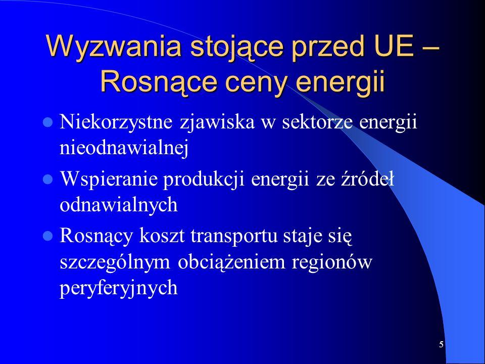 5 Wyzwania stojące przed UE – Rosnące ceny energii Niekorzystne zjawiska w sektorze energii nieodnawialnej Wspieranie produkcji energii ze źródeł odnawialnych Rosnący koszt transportu staje się szczególnym obciążeniem regionów peryferyjnych