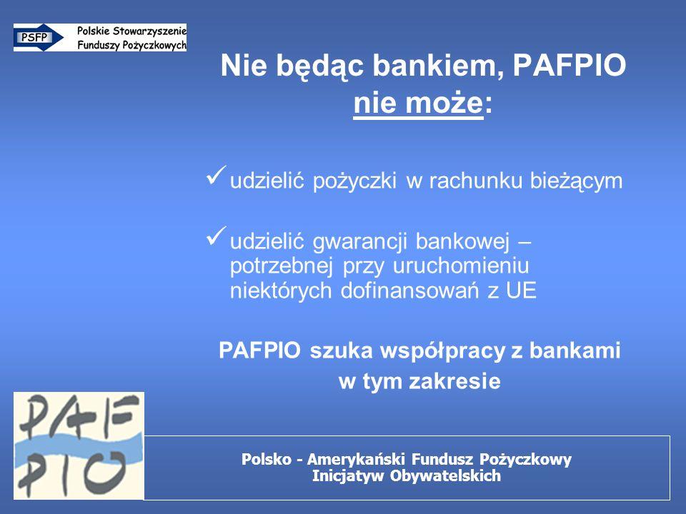 Nie będąc bankiem, PAFPIO nie może: udzielić pożyczki w rachunku bieżącym udzielić gwarancji bankowej – potrzebnej przy uruchomieniu niektórych dofinansowań z UE PAFPIO szuka współpracy z bankami w tym zakresie Polsko - Amerykański Fundusz Pożyczkowy Inicjatyw Obywatelskich
