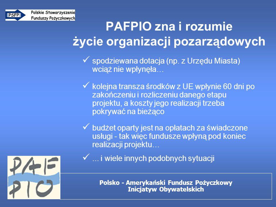 Elastyczna procedura udzielenia pożyczki sprawdzenie dokumentacji formalnej (KRS, statut, itp.) analiza sprawozdań finansowych i budżetów wizyta w siedzibie organizacji i/lub w miejscu prowadzenia działalności wywiad środowiskowy (opinie innych organizacji, władz lokalnych, sponsorów, grantodawców…) Polsko - Amerykański Fundusz Pożyczkowy Inicjatyw Obywatelskich