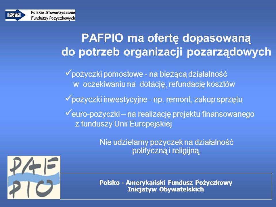 PAFPIO ma ofertę dopasowaną do potrzeb organizacji pozarządowych pożyczki pomostowe - na bieżącą działalność w oczekiwaniu na dotację, refundację kosztów pożyczki inwestycyjne - np.