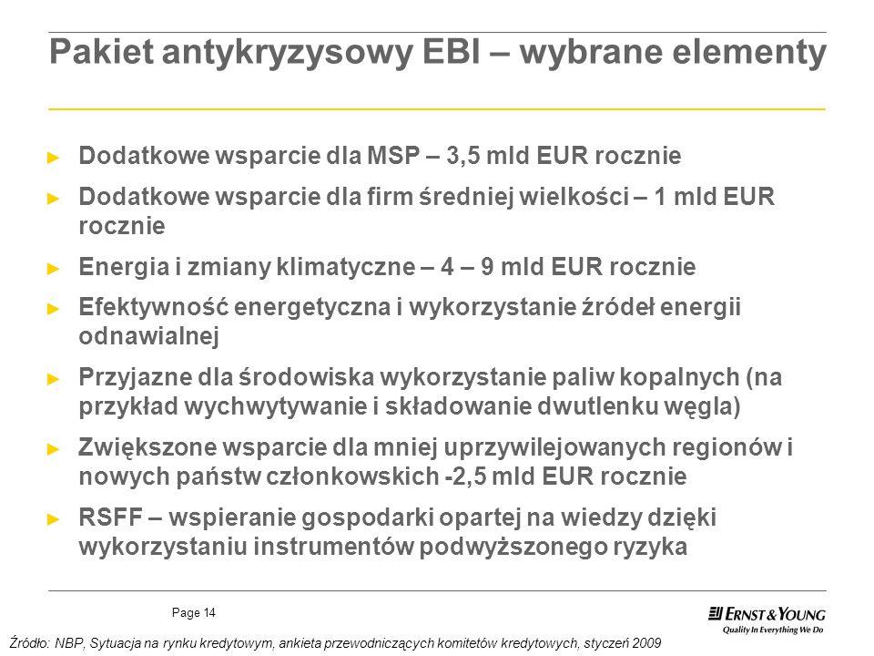 Page 14 Pakiet antykryzysowy EBI – wybrane elementy Dodatkowe wsparcie dla MSP – 3,5 mld EUR rocznie Dodatkowe wsparcie dla firm średniej wielkości –