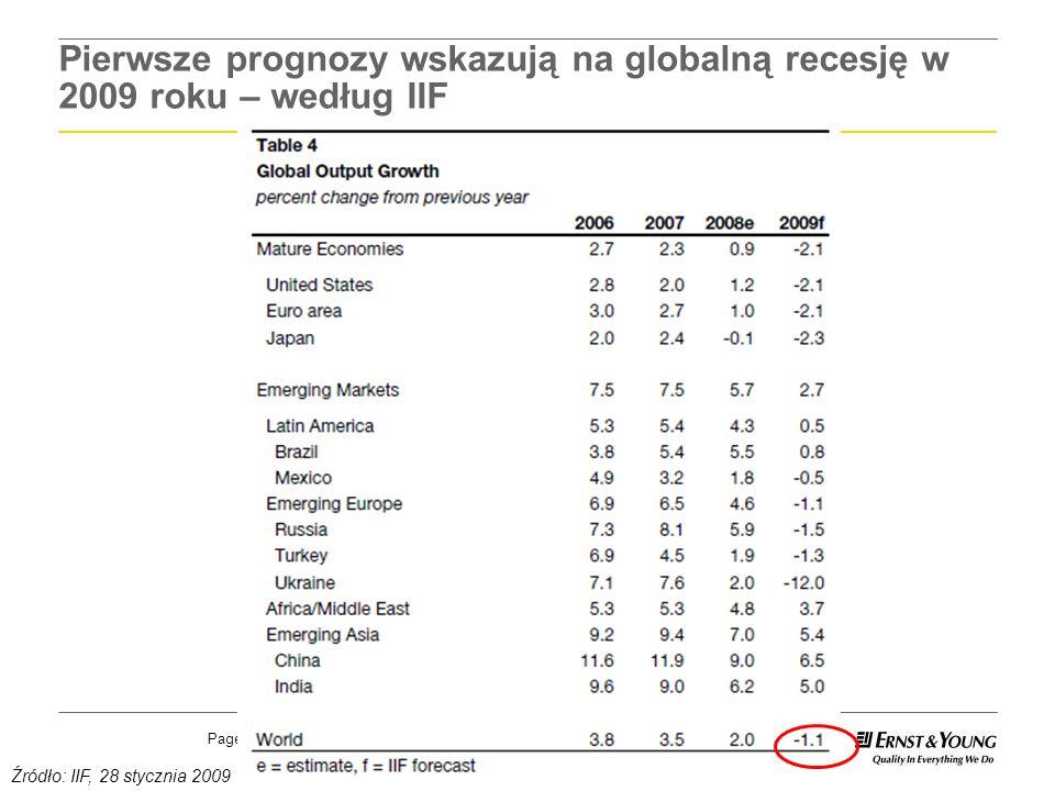 Page 2 Pierwsze prognozy wskazują na globalną recesję w 2009 roku – według IIF Źródło: IIF, 28 stycznia 2009