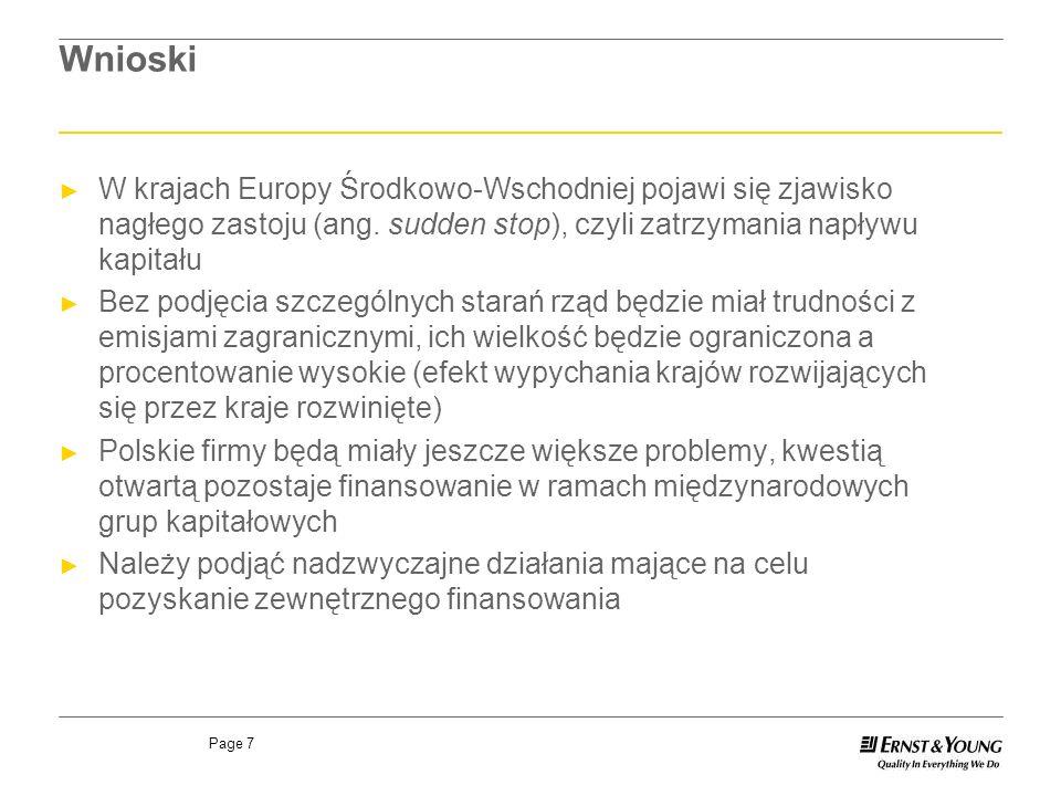 Page 7 Wnioski W krajach Europy Środkowo-Wschodniej pojawi się zjawisko nagłego zastoju (ang. sudden stop), czyli zatrzymania napływu kapitału Bez pod