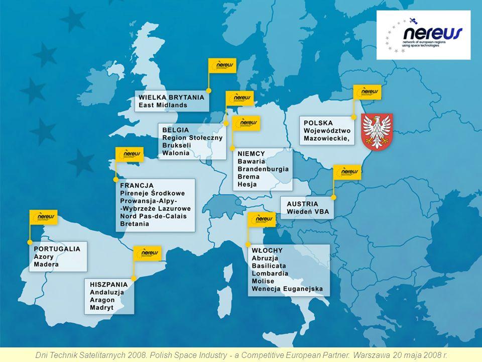 Współpraca Cele Stowarzyszenia NEREUS to: zaangażowanie poziomu regionalnego we wspomaganiu rządów krajowych Unii Europejskiej w wypracowaniu i rozwijaniu europejskich programów kosmicznych i czynności związanych z infrastrukturą i aplikacjami; promowanie i wdrażanie partnerstwa, sprawowanie pieczy nad programami współpracy międzynarodowej i ponad granicami pomiędzy europejskimi regionami w celu rozwoju wspólnych lub komplementarnych dóbr i podejść, włączając przygotowanie rekomendacji dla wspólnych projektów i inicjatyw; zaspokajanie i stabilne rozwijanie potrzeb użytkowników końcowych usług kosmicznych zapewnionych przez programy Unii Europejskiej; zapewnienie wykorzystania usług kosmicznych na obszarze wszystkich Regionów Europejskich w celu zapewnienia zrównoważonego rozwoju Unii Europejskiej i umożliwienia pełnej eksploatacji jej potencjału w zakresie technologii kosmicznych; wspieranie lepszej promocji kosmicznego wymiaru Europy w globalnej gospodarce; zwiększenie udziału obywateli w tworzeniu polityki wspólnotowej i rozwijaniu rynków usług kosmicznych.