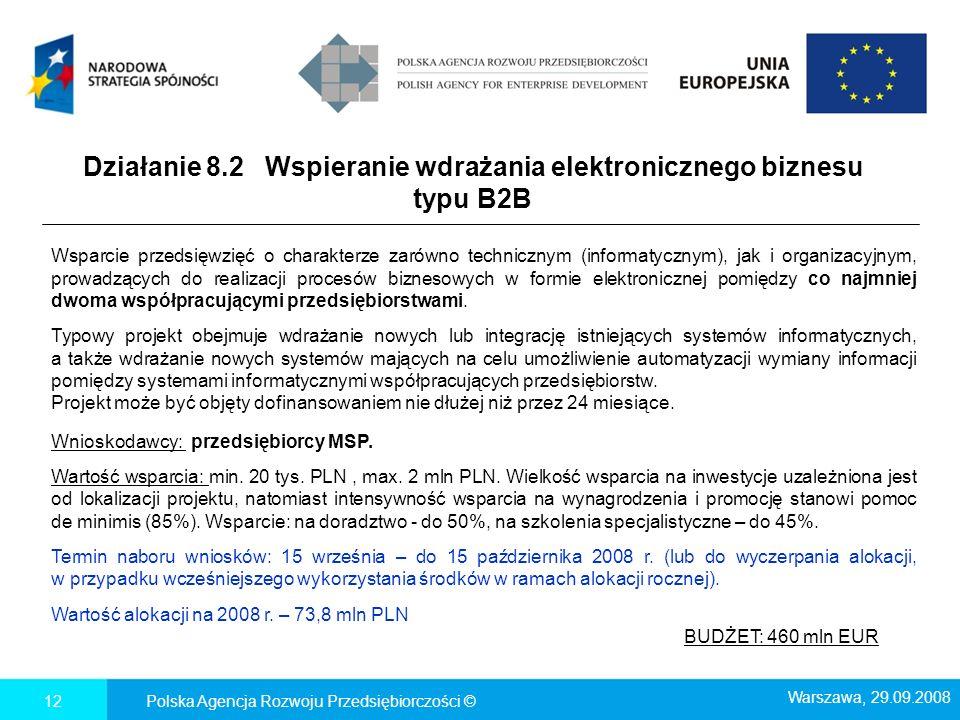 Działanie 8.2 Wspieranie wdrażania elektronicznego biznesu typu B2B Polska Agencja Rozwoju Przedsiębiorczości ©12 Warszawa, 29.09.2008 Wsparcie przeds