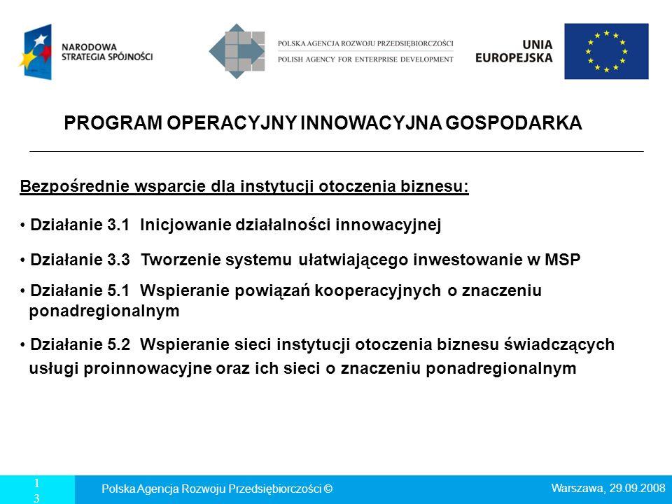 13 PROGRAM OPERACYJNY INNOWACYJNA GOSPODARKA Bezpośrednie wsparcie dla instytucji otoczenia biznesu: Działanie 3.1 Inicjowanie działalności innowacyjn