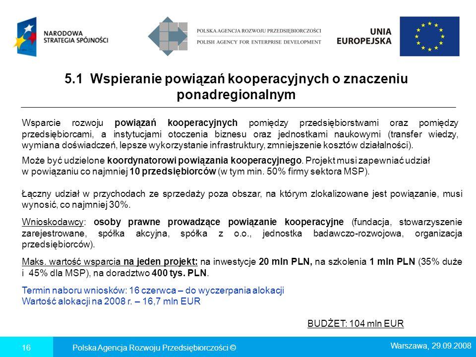 5.1 Wspieranie powiązań kooperacyjnych o znaczeniu ponadregionalnym Polska Agencja Rozwoju Przedsiębiorczości ©16 Wsparcie rozwoju powiązań kooperacyj