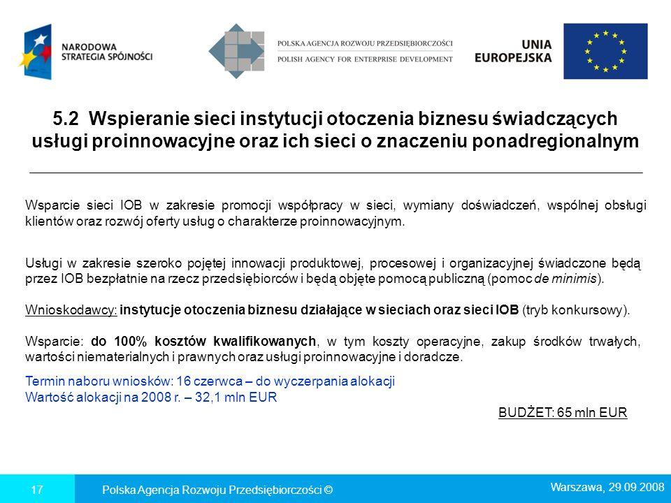 Polska Agencja Rozwoju Przedsiębiorczości ©17 5.2 Wspieranie sieci instytucji otoczenia biznesu świadczących usługi proinnowacyjne oraz ich sieci o zn