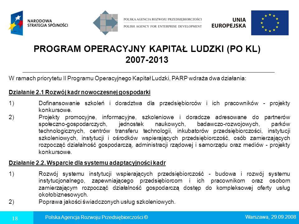 18 PROGRAM OPERACYJNY KAPITAŁ LUDZKI (PO KL) 2007-2013 W ramach priorytetu II Programu Operacyjnego Kapitał Ludzki, PARP wdraża dwa działania: Działan